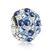Sterling Silver Blue Delight Charm with Aquamarine, Sapphire ,Diamond Swarovski Crystals ,Fits Pandora.