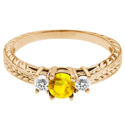 0.62 Ct Round Yellow Sapphire White Sapphire 18K Yellow Gold 3-Stone Ring