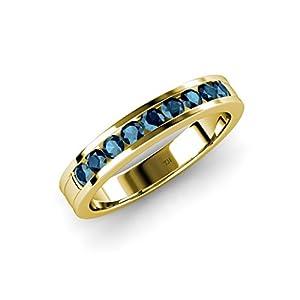 Blue Diamond 9 Stone Wedding Band 0.36 ct tw in 14K Yellow Gold.size 8.0