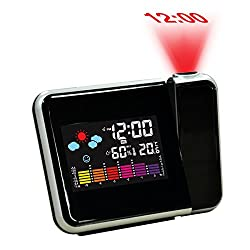 Hippih Projection Digital Alarm Clock with LED Backlight/Color ,Battery Backup, Auto Time Set,Sleep Time,Indoor Temperature /Humidity/Day/Date Display Bedside Clock(BLACK)