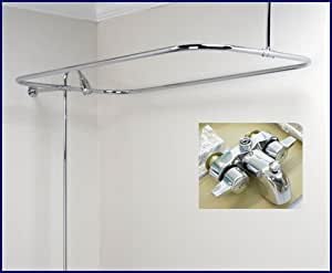 New Add On Shower For Clawfoot Tub Includes Rectangular Shower Rod Shower Curtain Rods