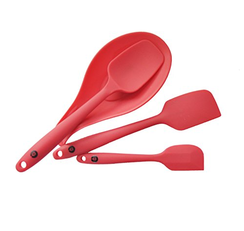 Chefworx Red Silicone Spatula and Spoon Rest Baking Cooking Set of 3 - Heat Resistant BPA Free Dishwasher Safe Bonus Small Spatula (Aqua Hand Blender compare prices)