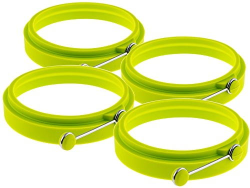 Egg Ring Cooker / Pancake Mold. Premium Silicone Egg Rings Non Stick Set of 4 Green, YumYum Utensils