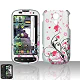 Rubberized Flower Snap on Design Case Hard Case Skin Cover Faceplate for Sprint Samsung Galaxy S Epic 4g-Silver/Pink