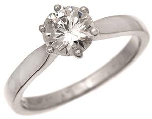 Wunderschöner 18 Karat (750) Weißgold Solitär Verlobung Damen - Diamant Ring Brillant-Schliff 1.00 Karat F-I1 Ringgröße 49 (15.6)