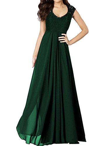 Miusol® Women's Casual Deep- V Neck Sleeveless Vintage Maxi Black Dress (Medium, Green)