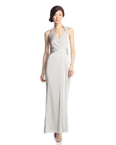 JS Boutique Women's Slinky Knit Beaded Halter Gown