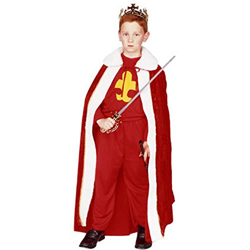 Kid's Red King Halloween Costume (Size:Medium 8-10)