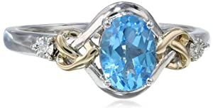Sterling Silver, 14k Yellow Gold, Diamond, and Swiss Blue Topaz Love Knot Ring by Amazon Curated Collection