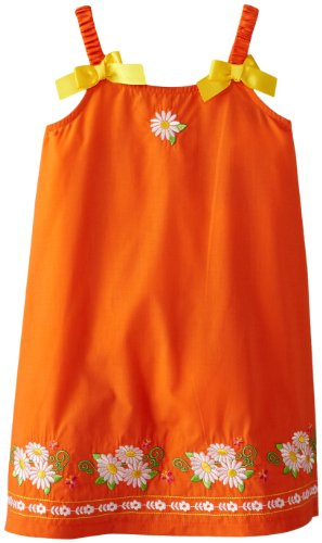 Younghearts Little Girls' Dress With Flowers And Bows, Orange, 2T