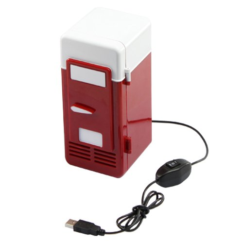Desktop Beverage Cooler ~ Usb powered desktop mini fridge cooler red