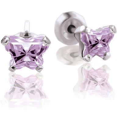 Bfly Butterfly CZ June Birthstone Girl's Earrings in Sterling Silver
