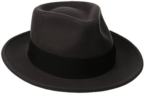 Scala Classico Men's Crushable Water Repelant Wool Felt Fedora Hat, Grey, Large
