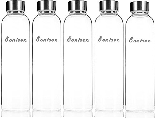 Clearance - Bonison Borosilicate Glass Water Bottles Sport - 5 Pack, 18.5oz - Get Healthy Drink More - Storage Container - Clean Tasting, No Sleeves 550ml - No Return - Warehouse Deal (Dishwasher Top Rack End Caps compare prices)