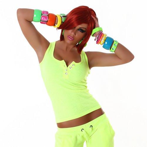 Sexy Top Shirt Trägertop Feinripp-Optik Strassknöpfe 32,34,36,38 - verschiedende Farben