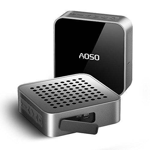 Altoparlante Bluetooth Stereo Wireless Impermeabile, Aoso MetalBox Portatile Speaker 5W con Microfono e Funzione di AUX, Batteria ricaricabile a 10 Ore di Riproduzione per Smartphone Tablet, Alluminio