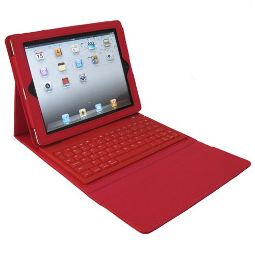 Championstore Leather Case with Bluetooth Wireless Keyboard for Ipad 2/3/4 Red