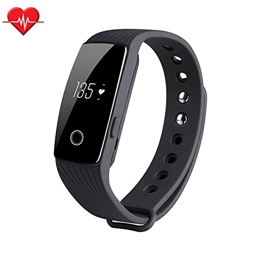Fitness Tracker & Heart Rate Monitor, ID107 Bracelet Pedometer Watches Sleep Monitor Life Waterproof Fitness Band Wristband for Android iOS Phones, black