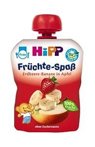Hipp Früchte-Spaß Erdbeere-Banane in Apfel, 6-er Pack (6 x 90 g) - Bio