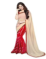 VinayTM Cream Red Georgette Printed Lace Work Saree with Blouse Piece