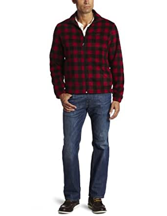 Woolrich Men's Andes Printed Fleece Jacket, Buffalo Red and Black, Medium