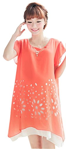 Am Clothes Womens Sexy Chiffon Print Short Sleeve Maternity Dress Large Orange front-601655