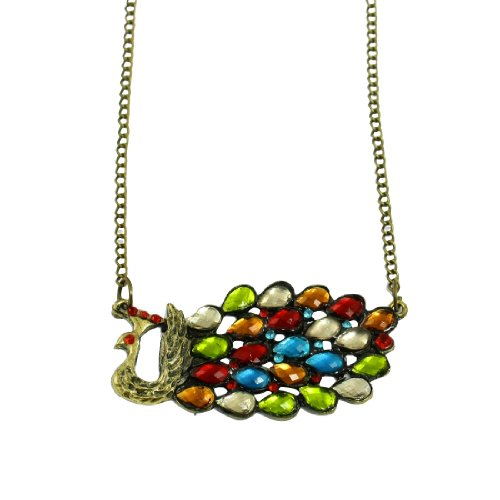 Rosallini Women Coloful Rhinestone Accent Peacock Pendant Twist Chain Opera Necklace