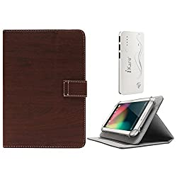 DMG Protective 7in Flip Book Cover Case for Hcl Me Champ Tablet (Brown) + 10000 mAh Three USB Port Power Bank