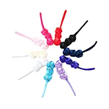 Ema Jane - Satin Silk Triplet Roses on Skinny Stretchy Headbands (10 Pack)