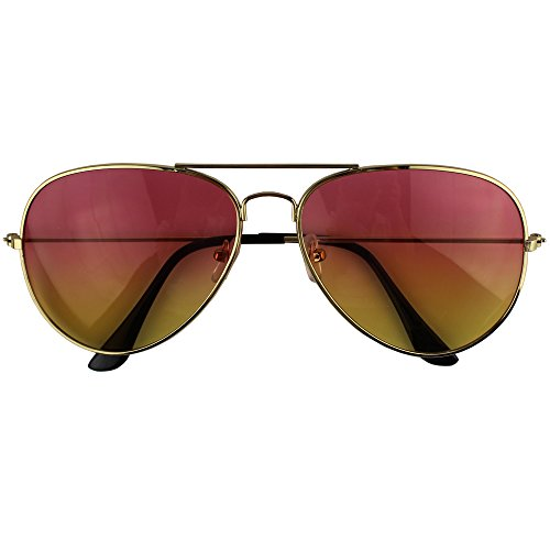 Easykan Women's Fashion Gold/silver Thin Metal Frame Tinted Lens Cockpit Sunglasses 62mm
