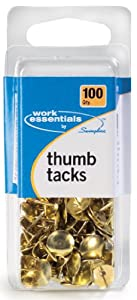 Swingline Work Essentials Thumb Tacks, 100 Count, Gold, (S7071752)