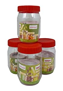Sunpet Set of 4 300ml Red Top Plastic Food Storage Canisters Jar Kitchen
