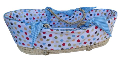 Patricia Ann Designs Cocoa Sky Dot Moses Basket With Check Trim, Blue front-567710