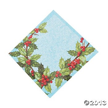 Holiday Cardinal & Holly Beverage Napkins 16 Count - 1