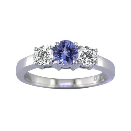 1/2 CT 3 Stone Tanzanite & Diamond Ring 14K White Gold (Available In Sizes 5 - 10)