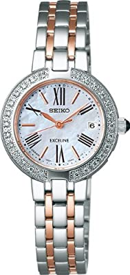 SEIKO EXCELINE Reinforced waterproof (10 atm) sapphire glass super clear coating Solar Radio Women's Watch SWCW008 [Japan Import]