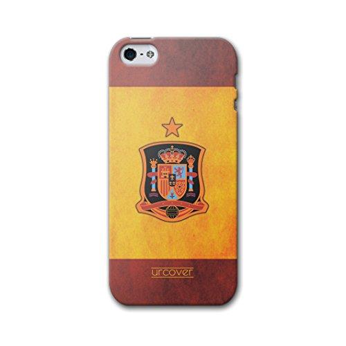 [EM SPEZIAL] Apple iPhone 5 / 5s / SE Fussball Handyhülle mit Staubschutzkappen von original Urcover® in der UEFA EURO 2016 Edition iPhone 5 / 5s / SE Schutzhülle Case Cover Etui Europameisterschaft 2016 Fahne Fanartikel Team Spanien