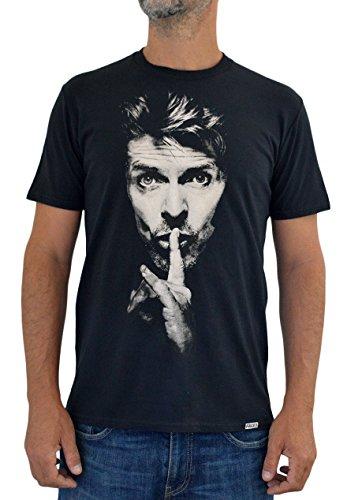 "Faces T-shirt Uomo ""DAVID BOWIE"" UTR425 Stampa Serigrafica Manuale ad Acqua (XL Uomo)"