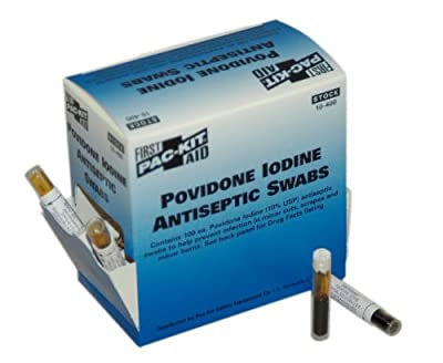 Pac-Kit 10-004 Antiseptic Povidone PVP Iodine Swab, 0.018 oz Capacity (Box of 10) by Pac-Kit