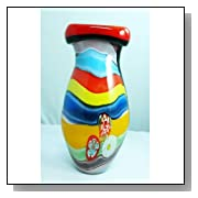 Murano Design Rainbow Striped Pattern Glass Art Vase