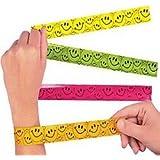 Pack of 4 - Smile Face Slap Bracelets - Party Loot Bag Stocking Filler