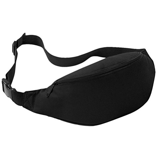 Perman Unisex Outdoor Sports Running Oxford Solid Color Stylish Waist Pack Bag 2L (Black )