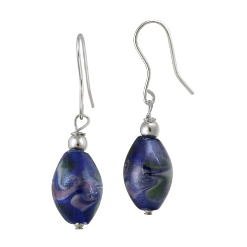 Sterling Silver and Dark Blue Glass Oval Bead Drop French Wire Earrings