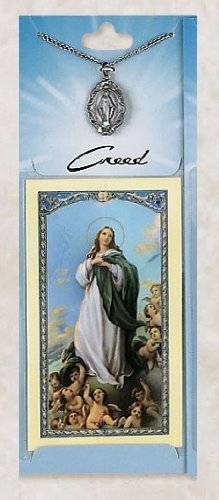 Prayer Card with Pewter Medal Miraculous & Chain