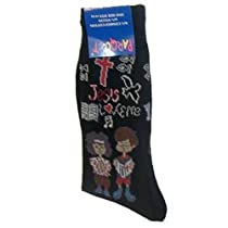 Jesus Loves Me Men's Black Novelty Cotton Socks