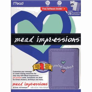 Mead Pre-Printed Shower & Party Invitations - Customize With Free Software! (Mead Impressions) front-66668