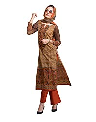 IndiWeaves Women Cotton Printed Brown Dress Material