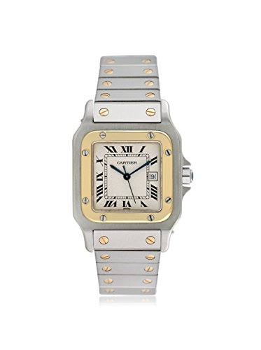 Cartier Men's Santos Galbee Off-White/Stainless Steel & 18K Yellow Gold Watch