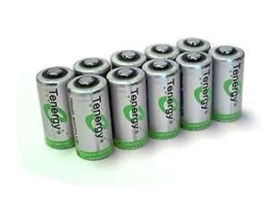 Combo: 10 pcs RCR123A 3.0V (3.2V NOM) 750mAh LiFePO4 Rechargeable Batteries- IEC62133 Certified
