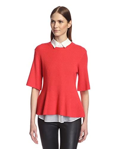Derek Lam 10 Crosby Women's 2-in-1 Shirt with Sweater  [Coral/White]